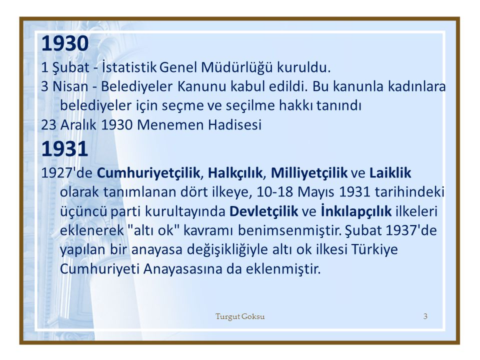 1930 1 Şubat - İstatistik Genel Müdürlüğü kuruldu. 3 Nisan - Belediyeler Kanunu kabul edildi. Bu kanunla kadınlara belediyeler için seçme ve seçilme h