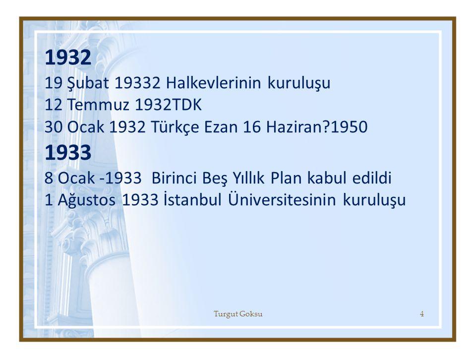 1932 19 Şubat 19332 Halkevlerinin kuruluşu 12 Temmuz 1932TDK 30 Ocak 1932 Türkçe Ezan 16 Haziran?1950 1933 8 Ocak -1933 Birinci Beş Yıllık Plan kabul