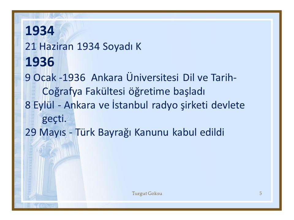 1934 21 Haziran 1934 Soyadı K 1936 9 Ocak -1936 Ankara Üniversitesi Dil ve Tarih- Coğrafya Fakültesi öğretime başladı 8 Eylül - Ankara ve İstanbul rad