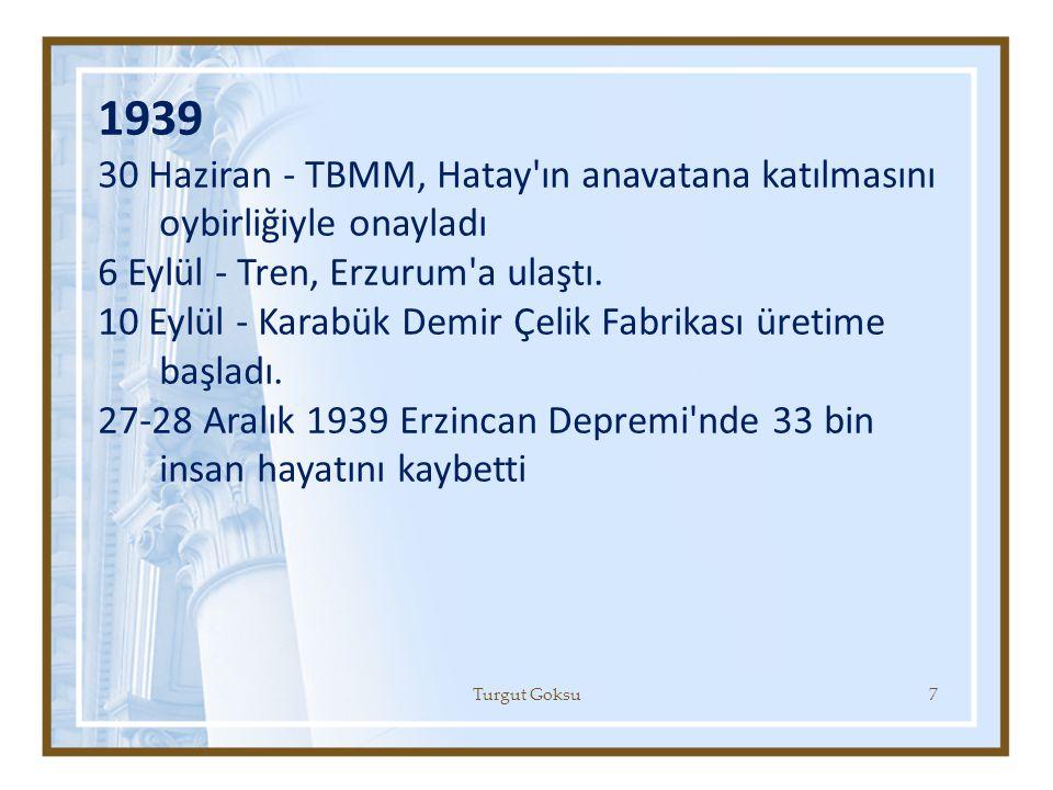 1939 30 Haziran - TBMM, Hatay'ın anavatana katılmasını oybirliğiyle onayladı 6 Eylül - Tren, Erzurum'a ulaştı. 10 Eylül - Karabük Demir Çelik Fabrikas