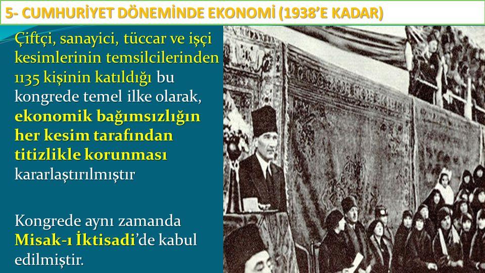 Çiftçi, sanayici, tüccar ve işçi kesimlerinin temsilcilerinden 1135 kişinin katıldığı bu kongrede temel ilke olarak, ekonomik bağımsızlığın her kesim