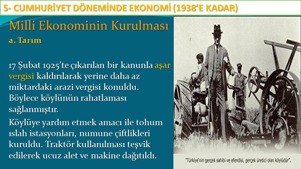 Milli Ekonominin Kurulması a. Tarım 17 Şubat 1925'te çıkarılan bir kanunla aşar vergisi kaldırılarak yerine daha az miktardaki arazi vergisi konuldu.