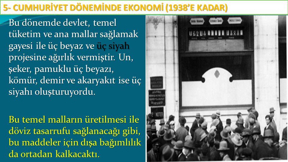 Yeni devletin kuruluşundan 1933 e kadar geçen dönemde sanayileşme istenilen seviyede gerçekleşmemiştir.