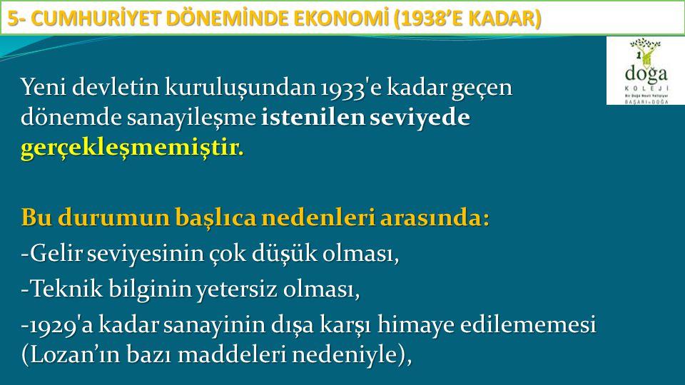 -Özel sektörün Teşvik-i Sanayi Kanunu na rağmen yapabildiği yatırımların miktar ve çeşit itibariyle yeterli olmaması, -1929 yılında dünya da meydana gelen ekonomik bunalımın Türkiye yi olumsuz etkilemesi sayılabilir.