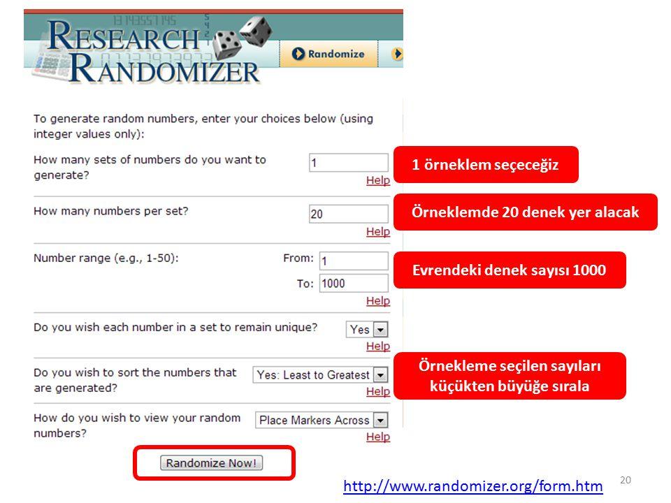 1 örneklem seçeceğiz Örneklemde 20 denek yer alacak Evrendeki denek sayısı 1000 Örnekleme seçilen sayıları küçükten büyüğe sırala http://www.randomizer.org/form.htm 20
