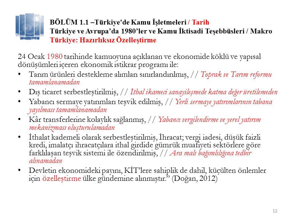 BÖLÜM 1.1 –Türkiye de Kamu İşletmeleri / Tarih – Güncel Türkiye ve Avrupa'da 1980'ler ve Kamu İktisadi Teşebbüsleri / Makro 13 Tablo 2.2 Yöntemlerine Göre Özelleştirme Uygulamaları-Satış Tutarları Tablo 2.2'de gösterildiği gibi 1985-2014 yılları arasında toplam 64.9 milyar dolarlık özelleştirme işlemi gerçekleştirilmiştir.