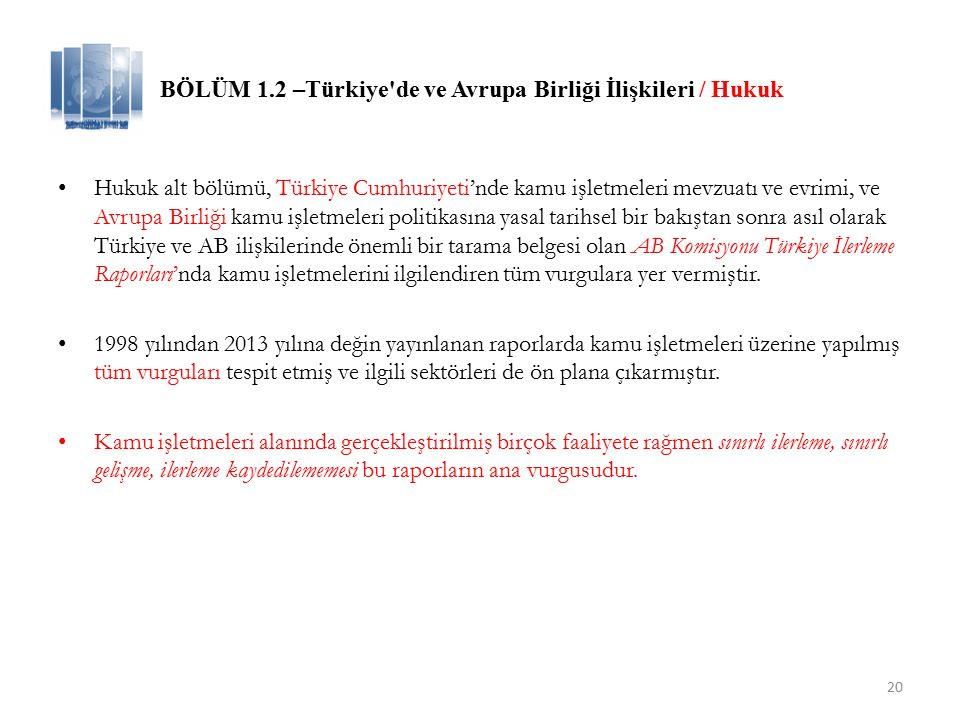 20 BÖLÜM 1.2 –Türkiye de ve Avrupa Birliği İlişkileri / Hukuk Hukuk alt bölümü, Türkiye Cumhuriyeti'nde kamu işletmeleri mevzuatı ve evrimi, ve Avrupa Birliği kamu işletmeleri politikasına yasal tarihsel bir bakıştan sonra asıl olarak Türkiye ve AB ilişkilerinde önemli bir tarama belgesi olan AB Komisyonu Türkiye İlerleme Raporları'nda kamu işletmelerini ilgilendiren tüm vurgulara yer vermiştir.