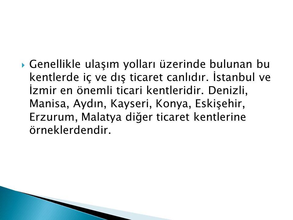  Genellikle ulaşım yolları üzerinde bulunan bu kentlerde iç ve dış ticaret canlıdır. İstanbul ve İzmir en önemli ticari kentleridir. Denizli, Manisa,