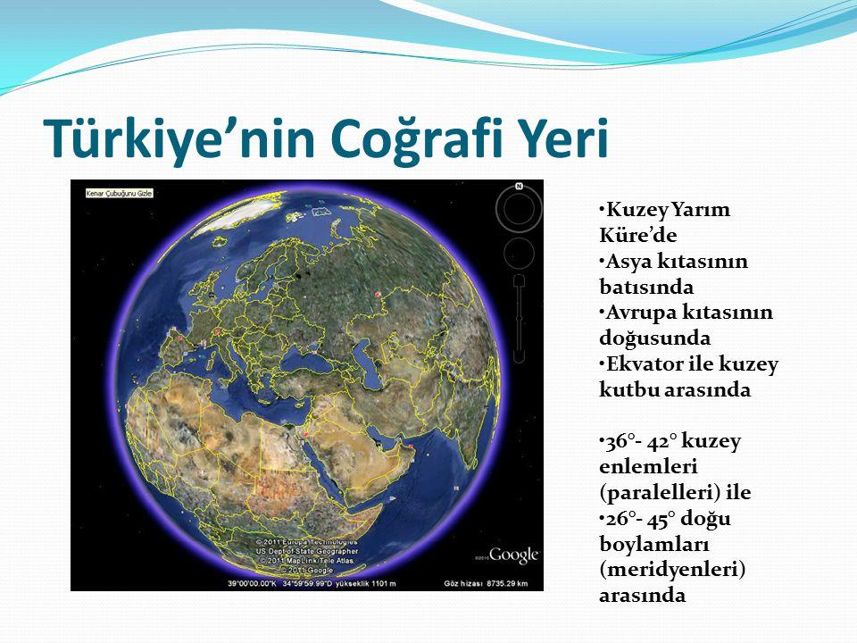 Türkiye'nin Coğrafi Yeri Kuzey Yarım Küre'de Asya kıtasının batısında Avrupa kıtasının doğusunda Ekvator ile kuzey kutbu arasında 36°- 42° kuzey enlem