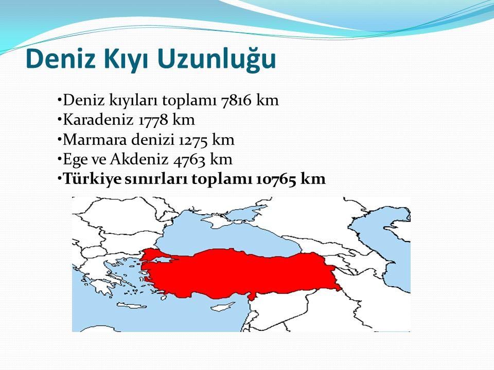 Deniz Kıyı Uzunluğu Deniz kıyıları toplamı 7816 km Karadeniz 1778 km Marmara denizi 1275 km Ege ve Akdeniz 4763 km Türkiye sınırları toplamı 10765 km