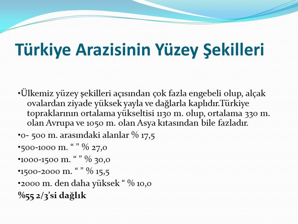 Türkiye Arazisinin Yüzey Şekilleri Ülkemiz yüzey şekilleri açısından çok fazla engebeli olup, alçak ovalardan ziyade yüksek yayla ve dağlarla kaplıdır.Türkiye topraklarının ortalama yükseltisi 1130 m.
