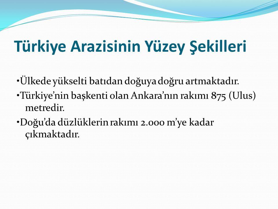 Türkiye Arazisinin Yüzey Şekilleri Ülkede yükselti batıdan doğuya doğru artmaktadır. Türkiye'nin başkenti olan Ankara'nın rakımı 875 (Ulus) metredir.
