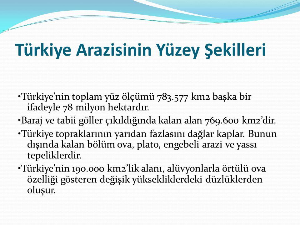 Türkiye Arazisinin Yüzey Şekilleri Türkiye'nin toplam yüz ölçümü 783.577 km2 başka bir ifadeyle 78 milyon hektardır. Baraj ve tabii göller çıkıldığınd