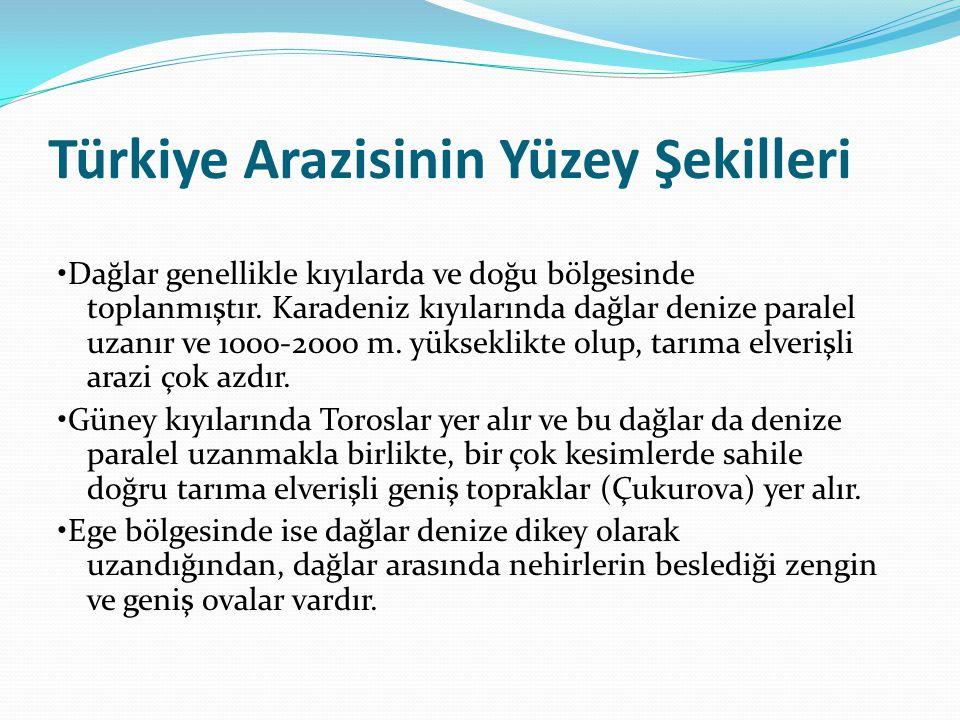 Türkiye Arazisinin Yüzey Şekilleri Dağlar genellikle kıyılarda ve doğu bölgesinde toplanmıştır. Karadeniz kıyılarında dağlar denize paralel uzanır ve