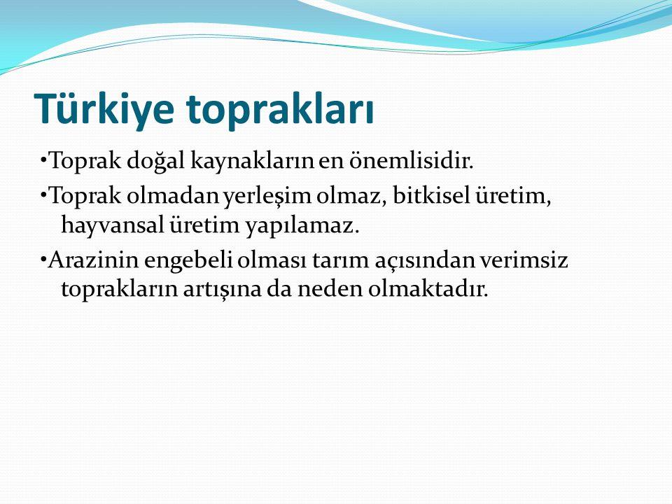 Türkiye toprakları Toprak doğal kaynakların en önemlisidir. Toprak olmadan yerleşim olmaz, bitkisel üretim, hayvansal üretim yapılamaz. Arazinin engeb