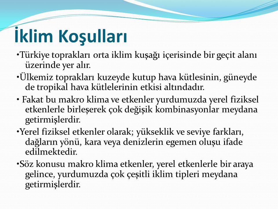 İklim Koşulları Türkiye toprakları orta iklim kuşağı içerisinde bir geçit alanı üzerinde yer alır. Ülkemiz toprakları kuzeyde kutup hava kütlesinin, g