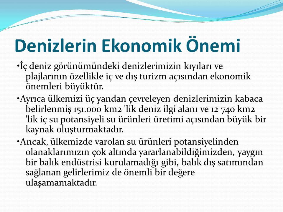 Denizlerin Ekonomik Önemi İç deniz görünümündeki denizlerimizin kıyıları ve plajlarının özellikle iç ve dış turizm açısından ekonomik önemleri büyüktü