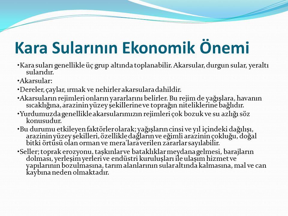 Kara Sularının Ekonomik Önemi Kara suları genellikle üç grup altında toplanabilir.