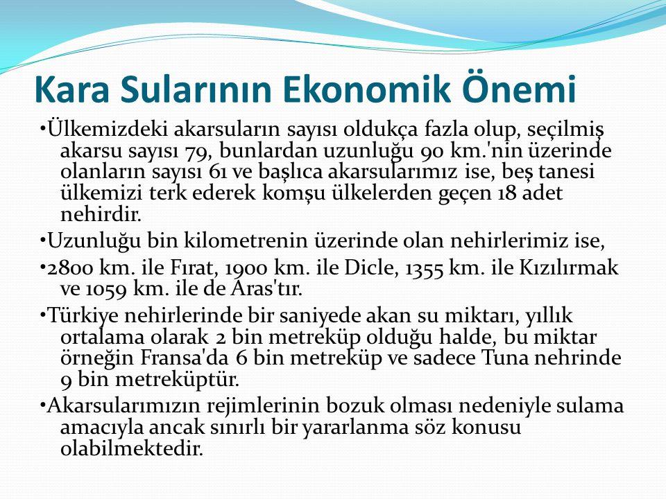 Kara Sularının Ekonomik Önemi Ülkemizdeki akarsuların sayısı oldukça fazla olup, seçilmiş akarsu sayısı 79, bunlardan uzunluğu 90 km. nin üzerinde olanların sayısı 61 ve başlıca akarsularımız ise, beş tanesi ülkemizi terk ederek komşu ülkelerden geçen 18 adet nehirdir.