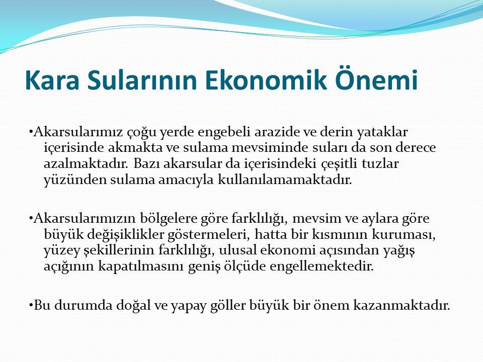 Kara Sularının Ekonomik Önemi Akarsularımız çoğu yerde engebeli arazide ve derin yataklar içerisinde akmakta ve sulama mevsiminde suları da son derece azalmaktadır.