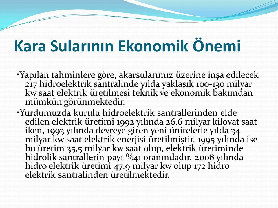 Kara Sularının Ekonomik Önemi Yapılan tahminlere göre, akarsularımız üzerine inşa edilecek 217 hidroelektrik santralinde yılda yaklaşık 100-130 milyar kw saat elektrik üretilmesi teknik ve ekonomik bakımdan mümkün görünmektedir.