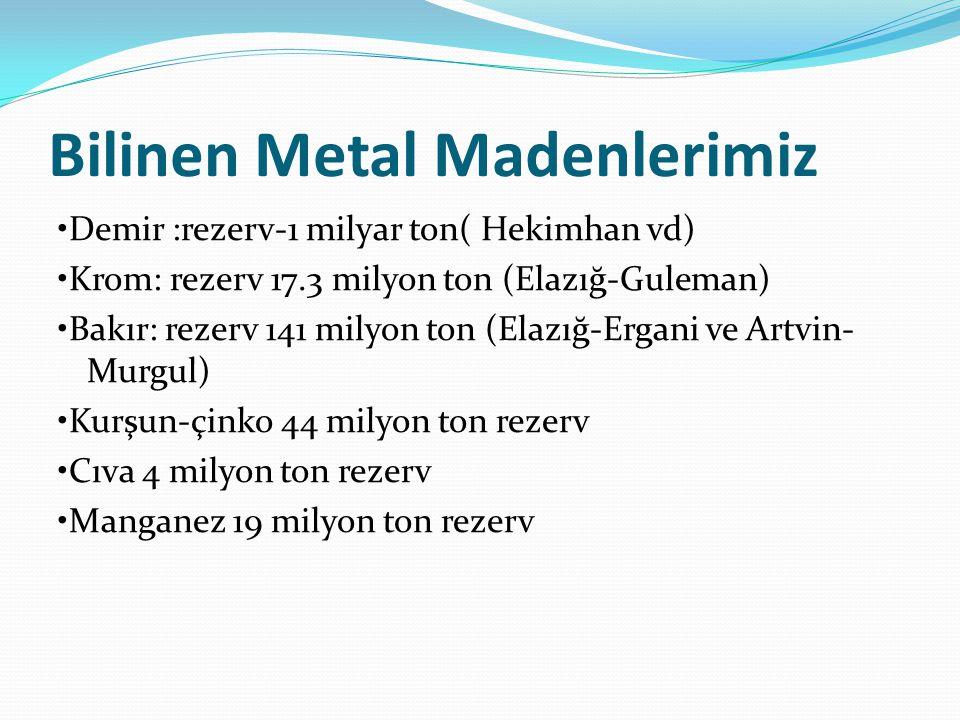 Bilinen Metal Madenlerimiz Demir :rezerv-1 milyar ton( Hekimhan vd) Krom: rezerv 17.3 milyon ton (Elazığ-Guleman) Bakır: rezerv 141 milyon ton (Elazığ-Ergani ve Artvin- Murgul) Kurşun-çinko 44 milyon ton rezerv Cıva 4 milyon ton rezerv Manganez 19 milyon ton rezerv