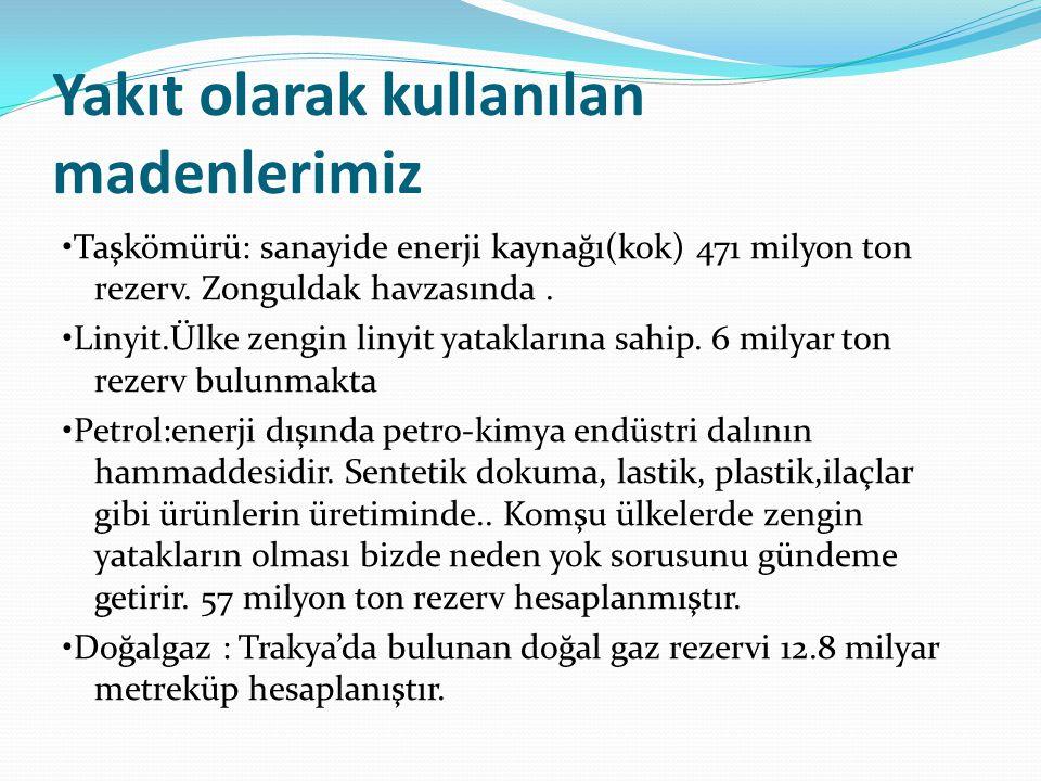 Yakıt olarak kullanılan madenlerimiz Taşkömürü: sanayide enerji kaynağı(kok) 471 milyon ton rezerv. Zonguldak havzasında. Linyit.Ülke zengin linyit ya