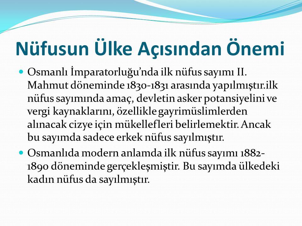 Nüfusun Ülke Açısından Önemi Osmanlı İmparatorluğu'nda ilk nüfus sayımı II. Mahmut döneminde 1830-1831 arasında yapılmıştır.ilk nüfus sayımında amaç,