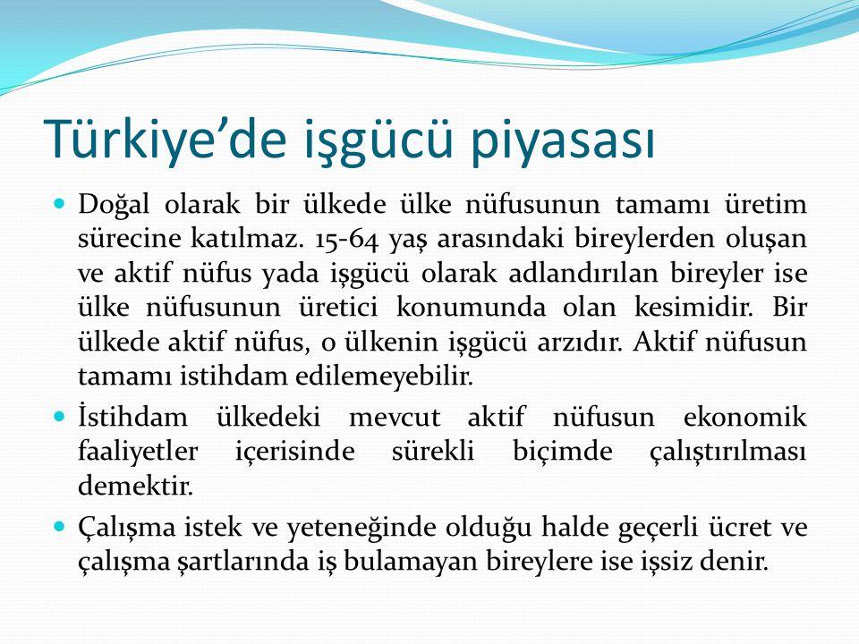 Türkiye'de işgücü piyasası Doğal olarak bir ülkede ülke nüfusunun tamamı üretim sürecine katılmaz. 15-64 yaş arasındaki bireylerden oluşan ve aktif nü
