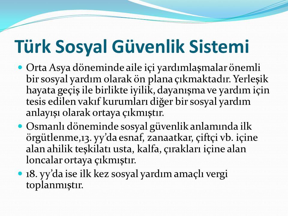 Türk Sosyal Güvenlik Sistemi Orta Asya döneminde aile içi yardımlaşmalar önemli bir sosyal yardım olarak ön plana çıkmaktadır. Yerleşik hayata geçiş i