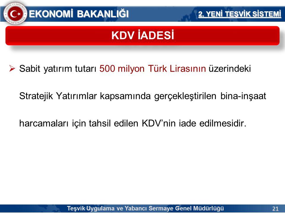 21 EKONOMİ BAKANLIĞI  Sabit yatırım tutarı 500 milyon Türk Lirasının üzerindeki Stratejik Yatırımlar kapsamında gerçekleştirilen bina-inşaat harcamal