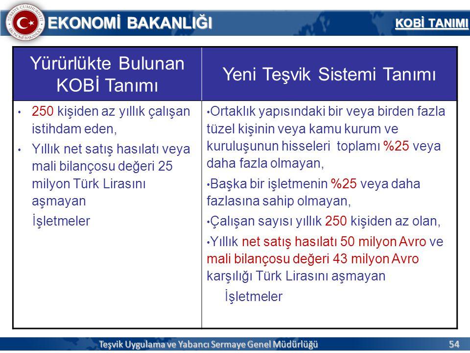 54 EKONOMİ BAKANLIĞI KOBİ TANIMI Teşvik Uygulama ve Yabancı Sermaye Genel Müdürlüğü Yürürlükte Bulunan KOBİ Tanımı Yeni Teşvik Sistemi Tanımı 250 kişi