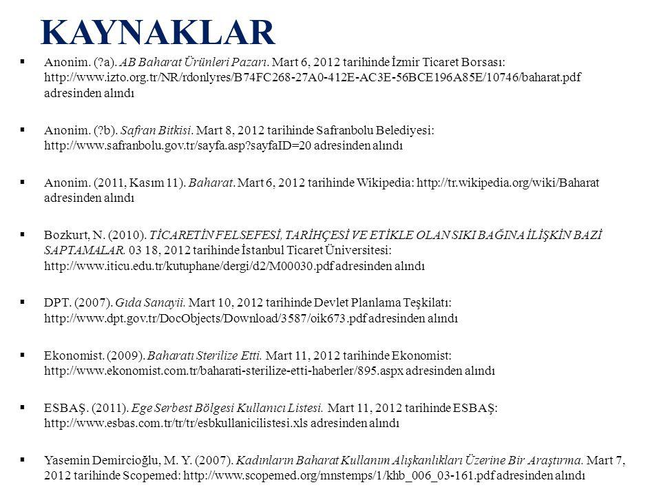 KAYNAKLAR  Anonim. (?a). AB Baharat Ürünleri Pazarı. Mart 6, 2012 tarihinde İzmir Ticaret Borsası: http://www.izto.org.tr/NR/rdonlyres/B74FC268-27A0-