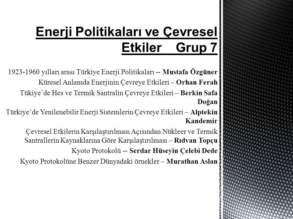 Enerji Politikaları ve Çevresel Etkiler Grup 7 1923-1960 yılları arası Türkiye Enerji Politikaları -- Mustafa Özgüner Küresel Anlamda Enerjinin Çevreye Etkileri – Orhan Ferah Tükiye'de Hes ve Termik Santralin Çevreye Etkileri – Berkin Safa Doğan Türkiye'de Yenilenebilir Enerji Sistemlerin Çevreye Etkileri – Alptekin Kandemir Çevresel Etkilerin Karşılaştırılması Açısından Nükleer ve Termik Santrallerin Kaynaklarına Göre Karşılaştırılması – Rıdvan Topçu Kyoto Protokolü -- Serdar Hüseyin Çelebi Dede Kyoto Protokolüne Benzer Dünyadaki örnekler – Murathan Aslan