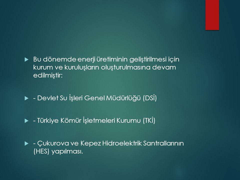  Bu dönemde enerji üretiminin geliştirilmesi için kurum ve kuruluşların oluşturulmasına devam edilmiştir:  - Devlet Su İşleri Genel Müdürlüğü (DSİ)  - Türkiye Kömür İşletmeleri Kurumu (TKİ)  - Çukurova ve Kepez Hidroelektrik Santrallarının (HES) yapılması.