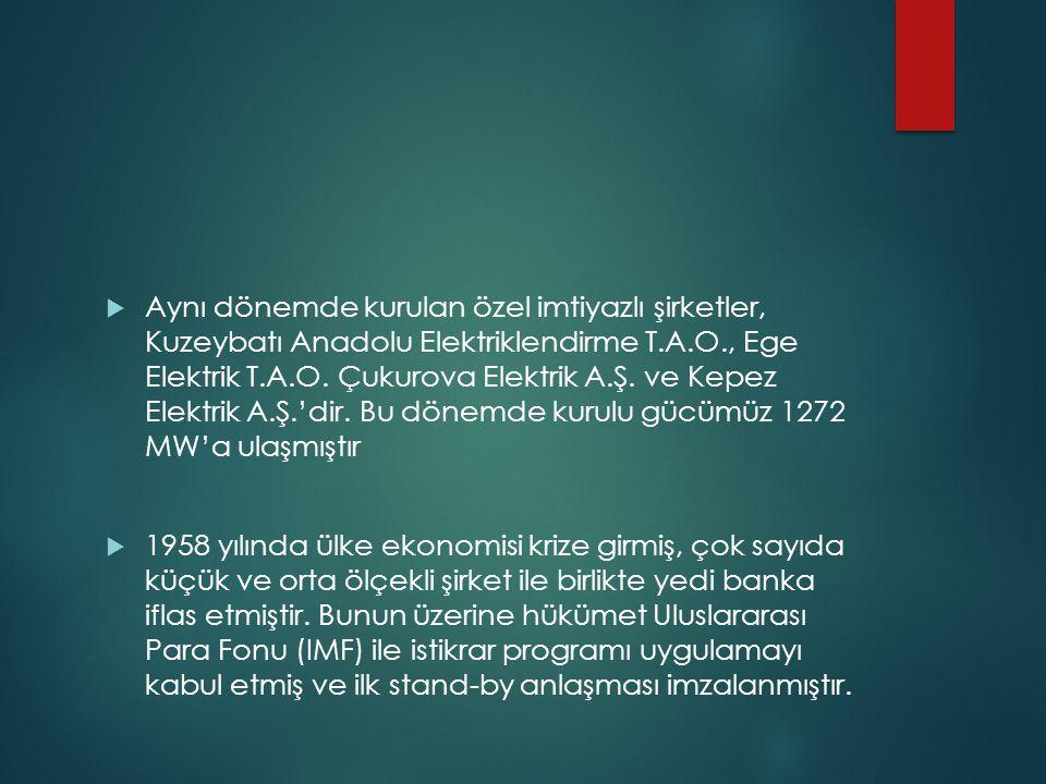  Aynı dönemde kurulan özel imtiyazlı şirketler, Kuzeybatı Anadolu Elektriklendirme T.A.O., Ege Elektrik T.A.O. Çukurova Elektrik A.Ş. ve Kepez Elektr
