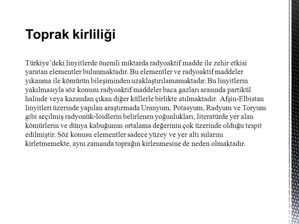Toprak kirliliği Türkiye'deki linyitlerde önemli miktarda radyoaktif madde ile zehir etkisi yaratan elementler bulunmaktadır.