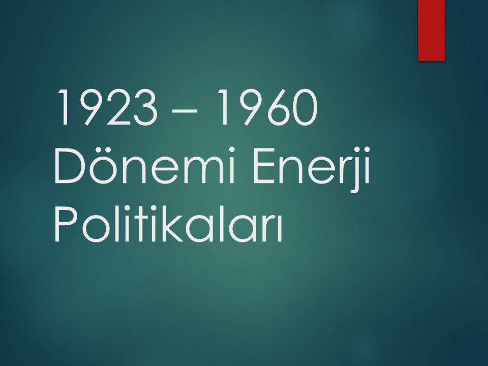 1923 – 1960 Dönemi Enerji Politikaları