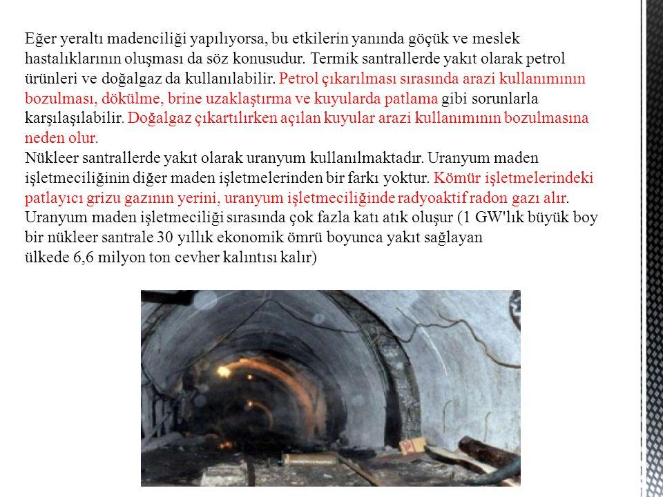 Eğer yeraltı madenciliği yapılıyorsa, bu etkilerin yanında göçük ve meslek hastalıklarının oluşması da söz konusudur. Termik santrallerde yakıt olarak
