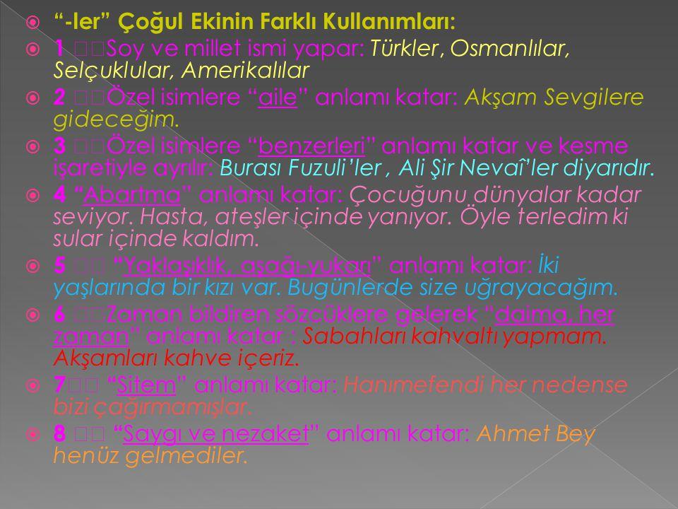 """ """"-ler"""" Çoğul Ekinin Farklı Kullanımları:  1  Soy ve millet ismi yapar: Türkler, Osmanlılar, Selçuklular, Amerikalılar  2  Özel isimlere """"aile"""""""