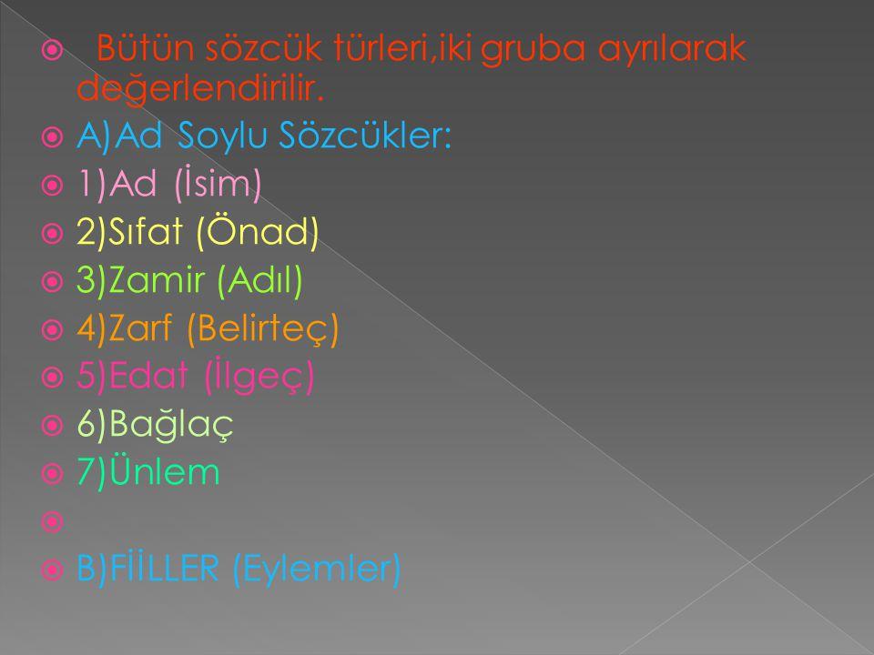  Bütün sözcük türleri,iki gruba ayrılarak değerlendirilir.  A)Ad Soylu Sözcükler:  1)Ad (İsim)  2)Sıfat (Önad)  3)Zamir (Adıl)  4)Zarf (Belirteç