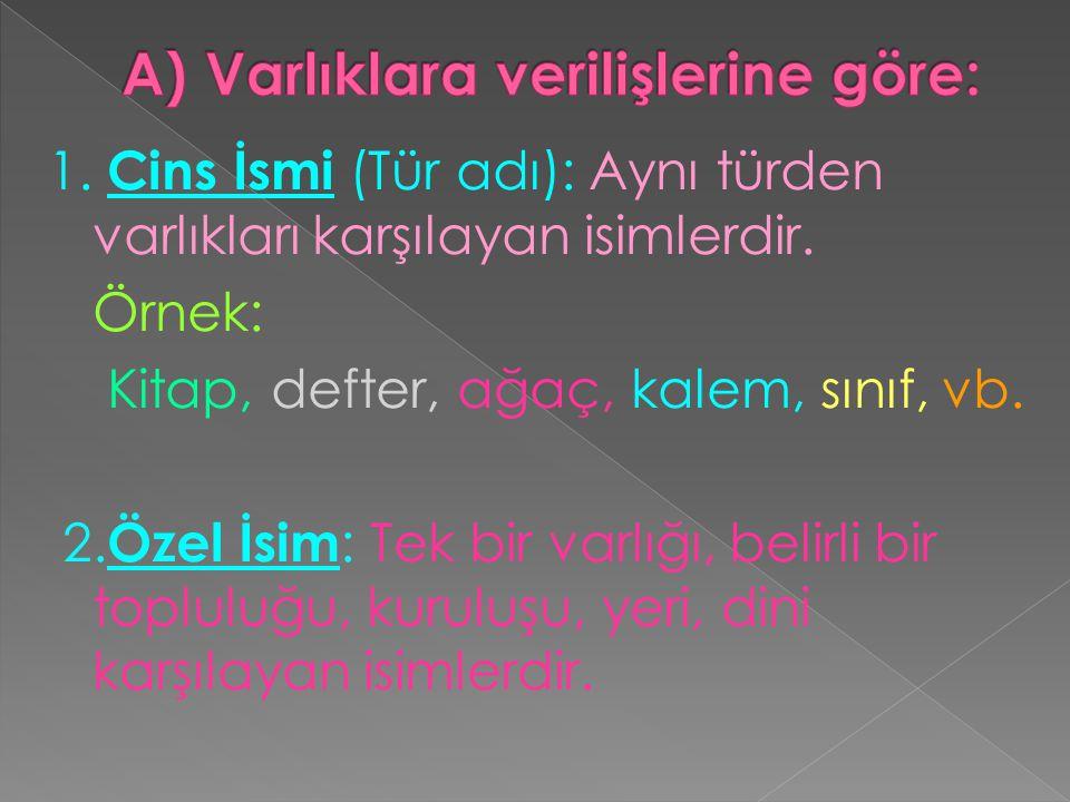  Tür adlarının başlıcaları şunlardır:  1.Eylem adları(isim-fiiller): geliş, okuma, içmek  2.Renk adları: mavi,yeşil,kırmızı.