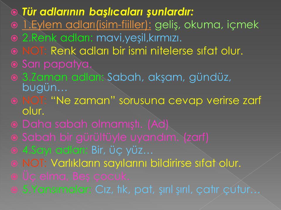  Tür adlarının başlıcaları şunlardır:  1.Eylem adları(isim-fiiller): geliş, okuma, içmek  2.Renk adları: mavi,yeşil,kırmızı.  NOT: Renk adları bir