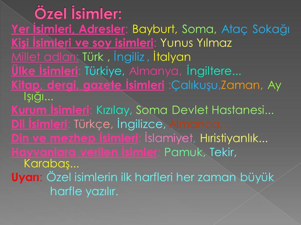 Yer İsimleri, Adresler : Bayburt, Soma, Ataç Sokağı Kişi İsimleri ve soy isimleri : Yunus Yılmaz Millet adları: Türk, İngiliz, İtalyan Ülke İsimleri :