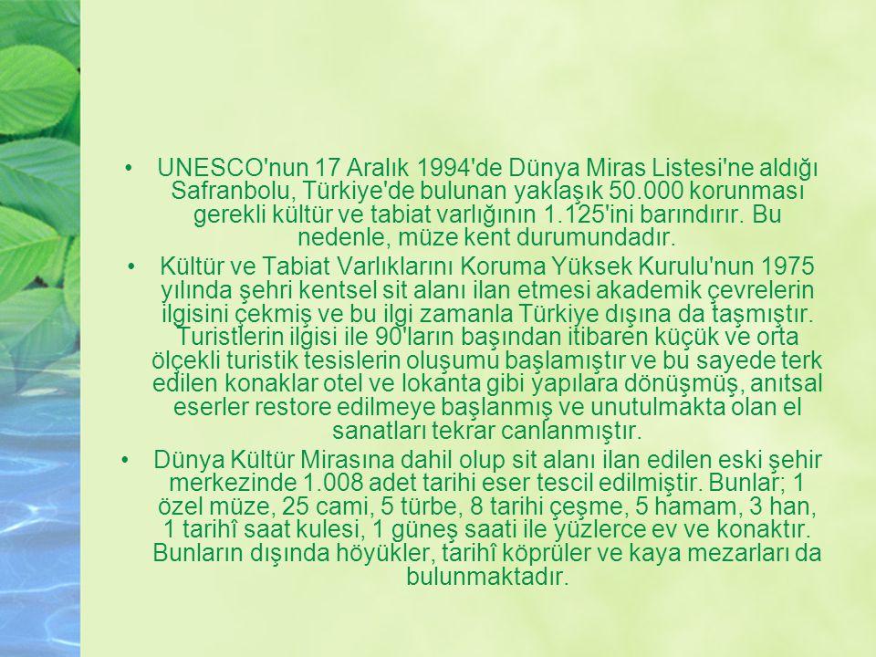 UNESCO'nun 17 Aralık 1994'de Dünya Miras Listesi'ne aldığı Safranbolu, Türkiye'de bulunan yaklaşık 50.000 korunması gerekli kültür ve tabiat varlığını