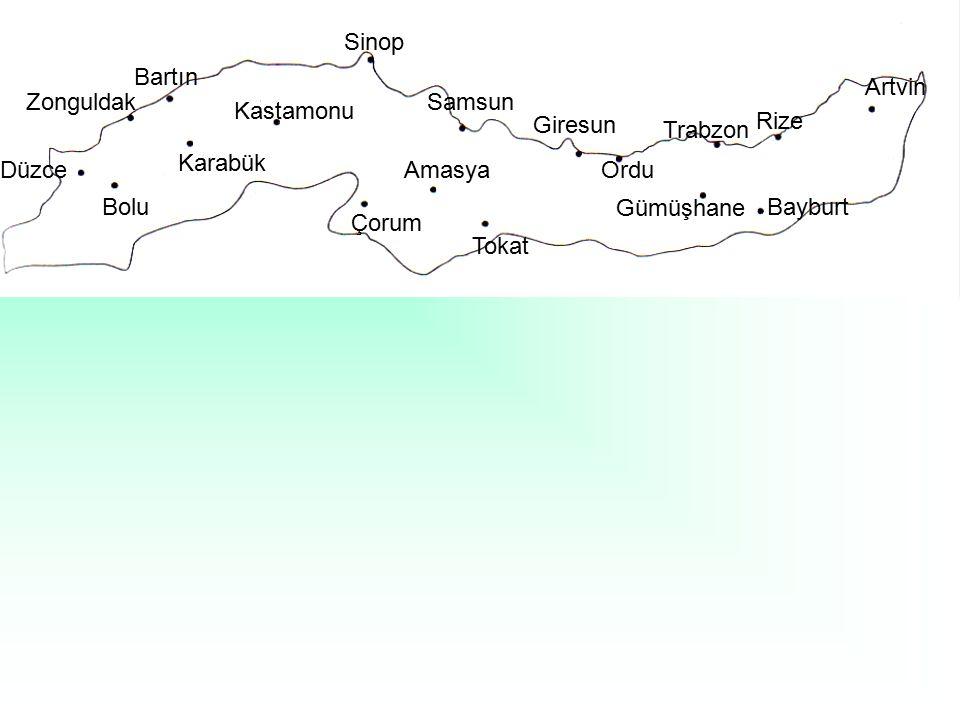 Bolu Düzce Zonguldak Bartın Karabük Kastamonu Sinop Samsun Giresun Ordu Trabzon Rize Artvin Gümüşhane Bayburt Çorum Amasya Tokat
