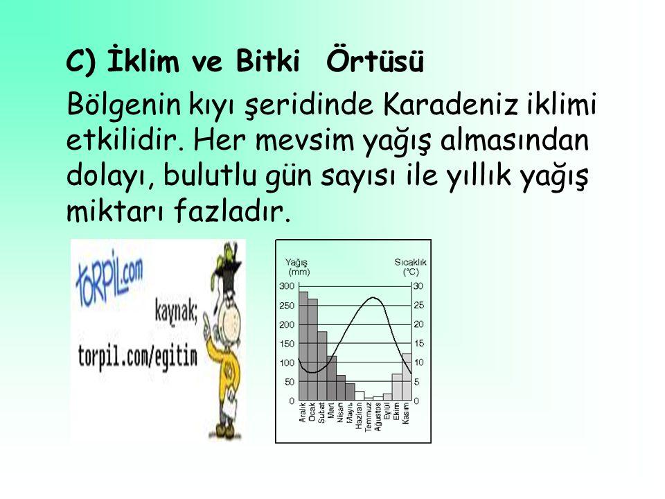 C) İklim ve Bitki Örtüsü Bölgenin kıyı şeridinde Karadeniz iklimi etkilidir.