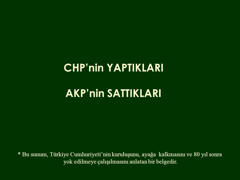 CHP'nin YAPTIKLARI AKP'nin SATTIKLARI * Bu sunum, Türkiye Cumhuriyeti'nin kuruluşunu, ayağa kalkmasını ve 80 yıl sonra yok edilmeye çalışılmasını anla