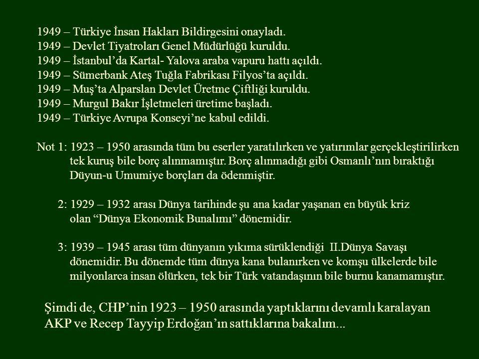 1949 – Türkiye İnsan Hakları Bildirgesini onayladı. 1949 – Devlet Tiyatroları Genel Müdürlüğü kuruldu. 1949 – İstanbul'da Kartal- Yalova araba vapuru