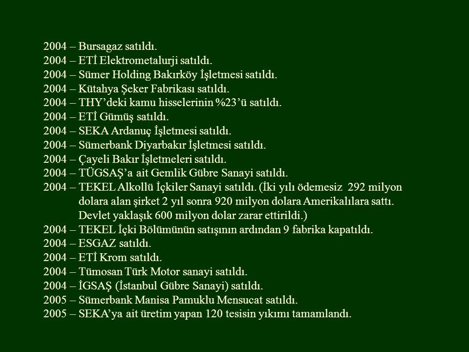 2004 – Bursagaz satıldı. 2004 – ETİ Elektrometalurji satıldı. 2004 – Sümer Holding Bakırköy İşletmesi satıldı. 2004 – Kütahya Şeker Fabrikası satıldı.